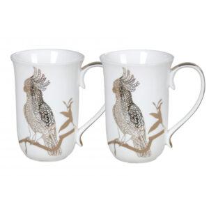Elegant Kitchen Tea Coffee Silhouette Cockatoo Mugs Cups Set of 2