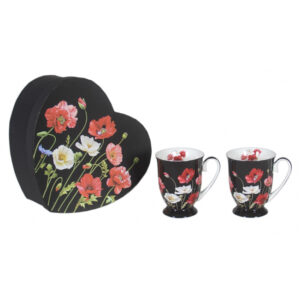 Elegant Kitchen Tea Coffee Poppies on Black Mugs Cups Set of 2 Heart Box