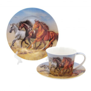 Elegant Kitchen Tea Cup, Saucer and Plate Horses Set Giftboxed