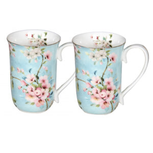 Elegant Kitchen Tea Coffee Peach Blossoms Mugs Cups Set of 2