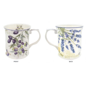 Elegant Kitchen Tea Coffee Lavender with Olive Mugs Cups Set of 2