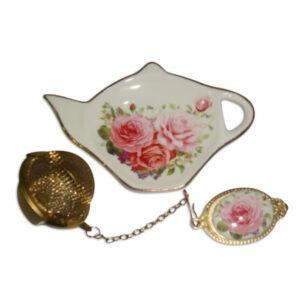 Elegant Kitchen China Pink Rose Tea Bag Holder and Strainer Set