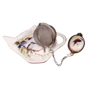 Elegant Kitchen China Kookaburra Tea Bag Holder and Strainer Set