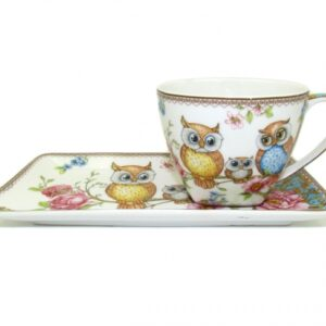 Elegant Kitchen Breakfast Tea Cup and Plate Set Owls China
