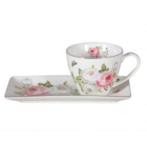 Elegant Kitchen Breakfast Tea Cup and Plate Set Butterfly Rose China