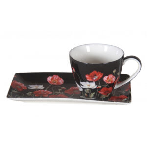 Elegant Kitchen Breakfast Tea Cup and Plate Set Poppies on Black China