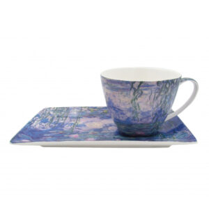 Elegant Kitchen Breakfast Tea Cup and Plate Set Monet Water Lillies