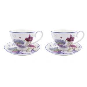 Elegant Kitchen Tea Cups and Saucers Spring Lavender Set of 2 Giftboxed