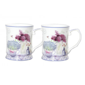 Elegant Kitchen Tea Coffee Spring Lavender Mugs Cups Set of 2
