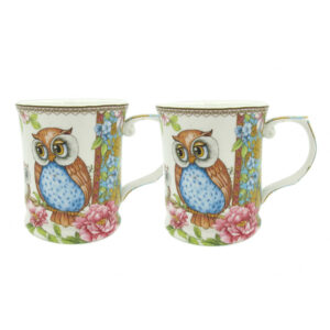 Elegant Kitchen Tea Coffee Owls Mugs Cups Set of 2