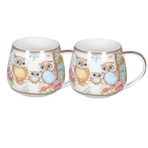Elegant Kitchen Tea Coffee Owls Bulbous Bottom Mugs Cups Set of 2