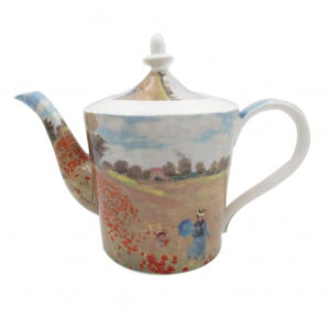 Elegant Kitchen Teapot Monet Poppies China Tea Pot 1 Litre Giftboxed