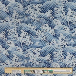Patchwork Quilting Sewing Fabric Japanese Blue Waves 50x55cm FQ