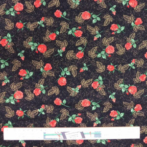 Patchwork Quilting Sewing Fabric Red Rose Buds Black 50x55cm FQ