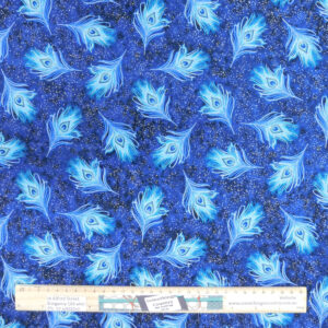 Patchwork Quilting Sewing Fabric Royal Peacock Feathers 50x55cm FQ