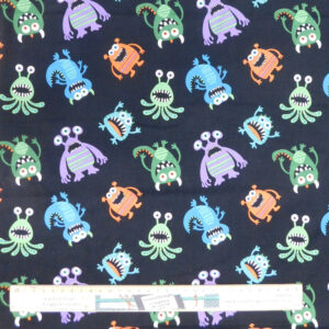 Patchwork Quilting Sewing Fabric Cute Monsters 50x55cm FQ Material