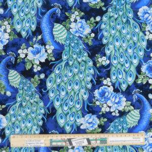 Patchwork Quilting Sewing Fabric Royal Peacocks 50x55cm FQ