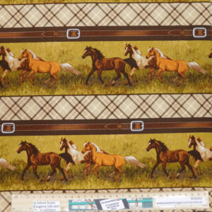 Patchwork Quilting Sewing Fabric Hold Your Horses Border 50x55cm FQ