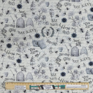 Patchwork Quilting Sewing Fabric Cream Save the Bees 50x55cm FQ