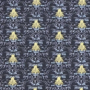 Patchwork Quilting Sewing Fabric Black Honey Bee 50x55cm FQ