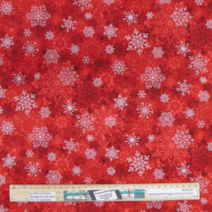 Patchwork Quilting Sewing Fabric Christmas Snowflakes Red 50x55cm FQ