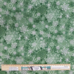 Patchwork Quilting Sewing Fabric Christmas Snowflakes Green 50x55cm FQ