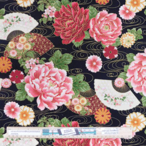 Patchwork Quilting Sewing Fabric Japanese Flowers and Fans 50x55cm FQ