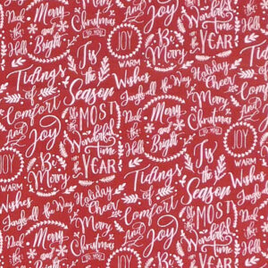 Patchwork Quilting Sewing Fabric Christmas Red Words 50x55cm FQ