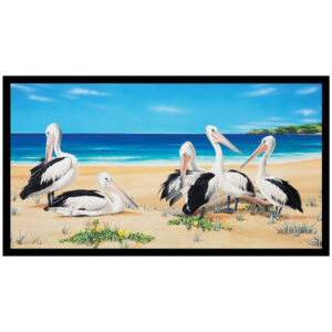 Patchwork Quilting Sewing Fabric Australian Pelicans Panel 59x110cm