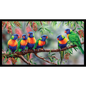 Patchwork Quilting Sewing Fabric Australian Lorikeets Panel 59x110cm