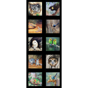 Patchwork Quilting Sewing Fabric Australian Animals 2 Panel 42x110cm
