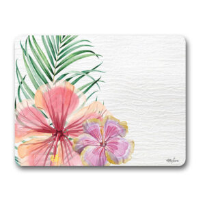 Kitchen Cork Backed Placemats AND Coasters HIBISCUS FLOWERS Set 6