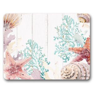 Country Kitchen Cork Backed Placemats AND Coasters STARFISH CORAL Set 6