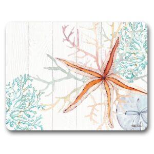 Kitchen Cork Backed Placemats AND Coasters STARFISH APRICOT Set 6