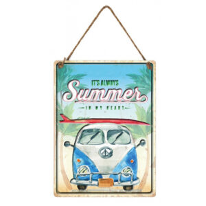 Country Metal Tin Sign Wall Art Embossed Kombi Summer in my Heart