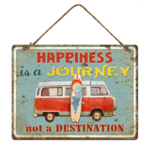 Country Metal Tin Sign Wall Art Embossed Kombi Happiness Journey