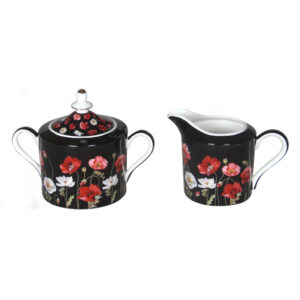 Elegant Kitchen China Poppies on Black Sugar and Creamer Milk Set