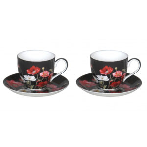 Elegant Kitchen Tea Cups and Saucers Poppies on Black Set of 2