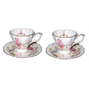 Elegant Kitchen Tea Cups and Saucers Cockatoos Set of 2 Giftboxed