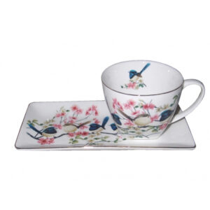 Elegant Kitchen Breakfast Tea Cup and Plate Set Blue Wren China