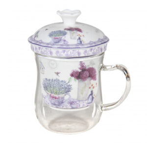 French Country Kitchen Tea Cup Mug Glass Spring Lavender with Strainer