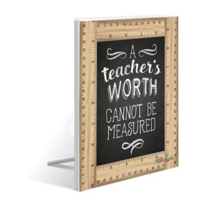 French Country Wooden Sign Teachers WORTH Standing Plaque