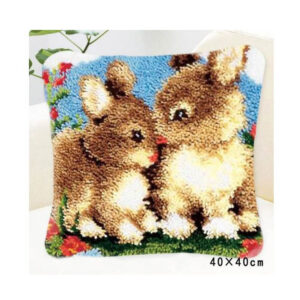 Crafting Kit Latch Hook with Canvas Hook and Threads BUNNIES