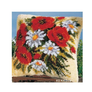 Crafting Kit Latch Hook with Canvas Hook and Threads RED WHITE FLOWERS