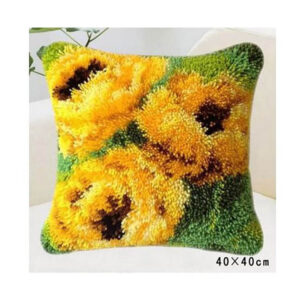 Crafting Kit Latch Hook with Canvas Hook and Threads SUNFLOWERS