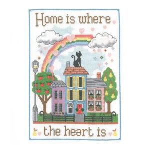 My Cross Stitch Kit Over the Rainbow Home Heart Is Counted X Stitch