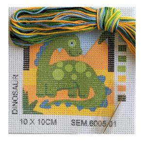 Semco Tapestry Kit Kids Beginner Dinosaur Inc Threads 10x10cm