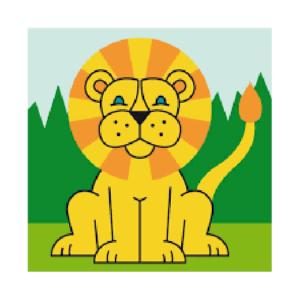 Semco Tapestry Kit Kids Beginner Lion Inc Threads 10x10cm