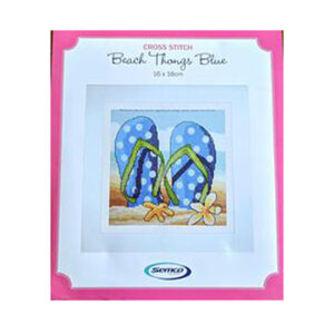 Semco Cross Stitch Kit Beach Thongs Blue Counted X Stitch incl Threads