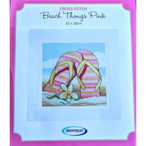 Semco Cross Stitch Kit Beach Thongs Pink Counted X Stitch incl Threads
